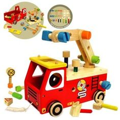 I'm Toy - Fire Fighter Builder: A multi-learning toy features a pull along constructive Fire Engine that comes with lots of wooden tools and accessories, like a hammer, a wrench, a screwdriver, connectors, pegs, nuts and bolts plus 3 shape-sorting traffic signs. Children will develop their motor skills while constructing their own imaginative playthings. #alltotstreasures #i'mtoy #firefighterbuilder #woodentoys #fireengine #pretendplay #firetruck