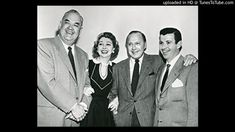The Jack Benny Show cast. From l. to r.; Don Wilson, Mary Livingston, Jack Benny and Dennis Day