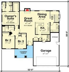 Comfortable Starter or Downsize Home Floor Master Suite CAD Available PDF Ranch Traditional Architectural Designs Best House Plans, Dream House Plans, Small House Plans, House Floor Plans, Floor Plan Layout, Starter Home, Modern Farmhouse Plans, Story House, Prefab Homes