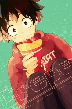 Crepe, text, Midoriya Izuku, cute, strawberries; My Hero Academia