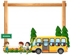 Download Border Template Design With Kids Riding On School Bus For Free School Border Border Templates Kids Ride On