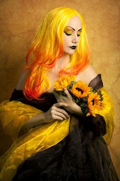 Yellow and orange ombre hair