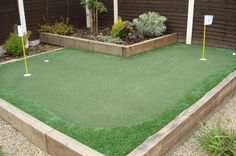 Landscaping Design with Golf Putting Green . Landscape Design, Garden Design, Golf Putting Green, Golf 4, Stepping Stones, Landscaping, Outdoor Decor, Stair Risers, Landscape Designs