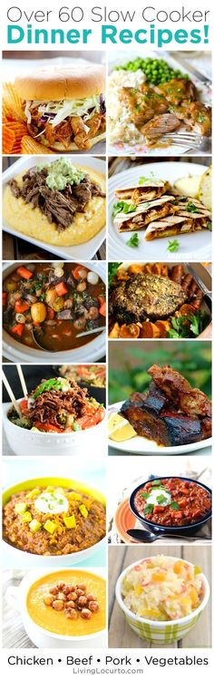 Love your Crock-Pot? Then youll love these amazing Slow Cooker Recipes! Enjoy over 60 of the best slow cooker meal ideas for dinner. Delicious Chicken, Beef, Pork and Vegetable slow cooker recipes to eat tonight. via Living Locurto Crock Pot Food, Crockpot Dishes, Crock Pot Slow Cooker, Slow Cooker Recipes, Cooking Recipes, Crockpot Meals, Freezer Meals, Crock Pots, Meal Recipes