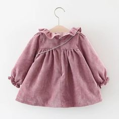 Purple Baby Toddler Pom Pom Ruffles Long Sleeve Dress And Bag Little Girl Dresses, Nice Dresses, Girls Dresses, Baby Girl Fashion, Kids Fashion, Latest Fashion, Lila Baby, Purple Baby, Vestidos Vintage