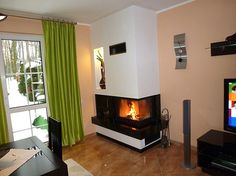 Galeria kominków nowoczesnych Dom, Stove, Fire, Places, Google, Home Decor, Fire Places, Living Room, Kitchen Cook