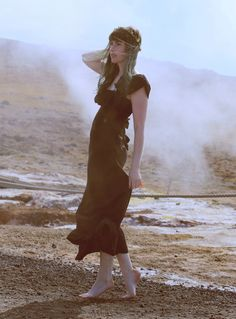 Iceland,  Fashion Blog, Like A Riot, geothermal, boho, boho style, green hair, gunnuhver hot springs, maxi dress, Mode Blog