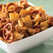 OLD-BAY-SNACK-MIX  oldbay.com    Helping seafood everywhere reach its full flavor potential.    Get the party off to a quick start by setting out bowls of this seasoned snack mix.         Ingredients    1/2 cup (1 stick) butter, melted    3 tablespoons Worcestershire sauce or soy sauce    4 teaspoons OLD BAY® Seasoning    1 can (11.5 ounces) mixed nuts (about 2 cups)    2 cups each wheat, rice and corn squares cereal    2 cups small pretzel shapes, such as twists or rings