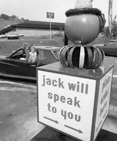 Feb. 27, 1973: A rear look at the clown. Jack in the Box is my least favorite fast food chain, but if they installed these clown intercoms a...