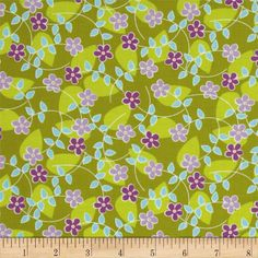 Michael Miller Quiet Time Floating Blossoms Green from @fabricdotcom  Designed by Tamara Kate for Michael Miller Fabrics, this fabric is perfect for quilting, apparel and home decor accents. Colors include purple, aqua, white and citrine.