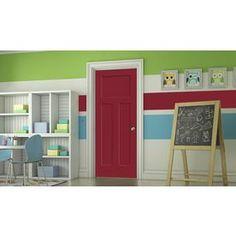 Jeld-Wen Barn Red Prehung Hollow Core 3-Panel Craftsman Interior Door