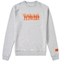 Heron Preston Flowers Crew Sweat ($285) ❤ liked on Polyvore featuring tops, hoodies, sweatshirts, crew neck sweatshirts, print sweatshirt, crew neck tops, crewneck sweatshirt and flower print top