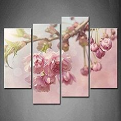 First Wall Art - 4 Panel Wall Art Pink Cherry Blossom Tree On Spring Day Painting Pictures Print On Canvas Flower The Picture For Home Modern Decoration piece (Stretched By Wooden Frame,Ready To Hang)  Cherry blossom décor is a great way to life, beauty and peace to your home.  You can find all kinds of cherry blossom decorating ideas by looking at cherry blossom wall art, cherry blossom accent pillows and other cherry blossom decorative accents.  Effortlessly use this type of décor in your…
