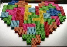 Tetris Perler Heart Magnet Set. $35.00, via Etsy.