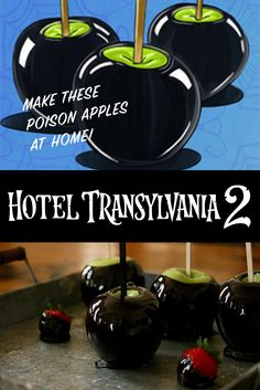 I've been pinning for a few months now and am actually trying out a few of my favorite pins. These poison apples turned out great, don't you think? - Hotel Transylvania 2 - in theaters September 25 # (Favorite Pins Night) Diy Halloween Gifts, Halloween Decorations For Kids, Halloween Birthday, Halloween Party Decor, Holidays Halloween, Halloween Fun, Halloween Themes, Halloween Dinner, 4th Birthday