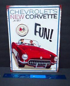 Chevrolets New Corvette Metal Sign GM 1957 Red Car Vintage Retro Man Cave Garage #Chevrolet #Retro
