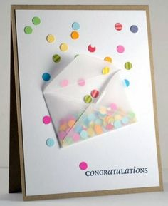 Confetti envelope for a congratulations card