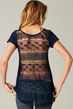 Lace Averly Tee; if the lines went vertical or diagonal it would probably be more flattering
