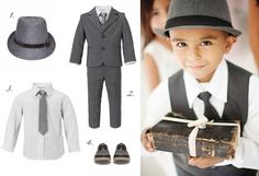 Boys grey suit, tie, waistcoat, hat, wedding, ring bearer. The boys can wear the waistcoat at the ceremony and then at the reception put on their jacket #KNwedding