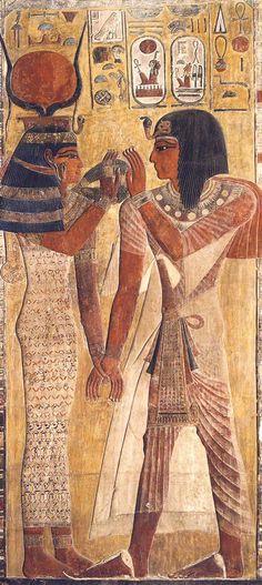 El Faraón Seti y la Diosa Hathor ( El Louvre )