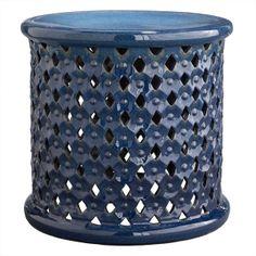 Wisteria - Furniture - Shop by Category - Poufs & Stools - Diamond-Pattern Stool Blue - $275.00