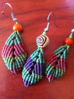 Pendiente hoja macramé varios modelos/ macrame leafs earrings handmade