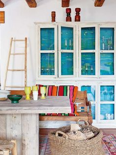 Go bolder by painting the inside of the cabinets.