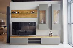 Apollo - nowoczesne meble do salonu, szare, blaty z litego drewna *** TC MEBLE