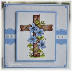 handmade Easter card ... wooden cross with flowers ...