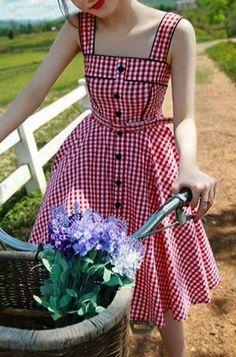 Sweet Square Neck Tiny Red Plaid Printed Flare Midi Dress For Women Vintage Dresses Vintage 1950s Dresses, Retro Dress, Vintage Outfits, Retro Mode, Mode Vintage, Vintage Lace, Pretty Dresses, Beautiful Dresses, Retro Fashion