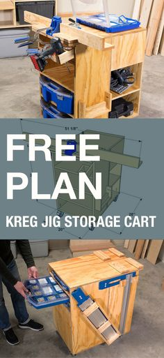 DIY Kreg Jig Work Center   Free printable plans with how-to steps, tools and materials list, cutting list and diagrams.   Organize your pocket-hole joinery with this rolling work center. It holds a Kreg Jig on top, and there's an optional fence system for the Kreg Jig K4. Plus, it has a drill holster, optional holders for Kreg cutting accessories, and storage shelves that hold a System Organizer and Screw Organizers.