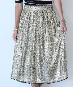 Look at this #zulilyfind! Gold Sequin A-Line Skirt #zulilyfinds