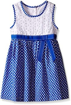 Bonnie Jean Girls Little Girls Eyelet to Polka Dot Cotton Skirt Dress Blue 6 *** Find out more about the great product at the image link.