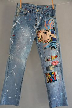 Ready to send:Size-26,27,28,29,30,30,31,32,34 unique vintage jeans One of a kind.. Hand made embroidery and unique patches. ---Or---- Made to order, in any size, within 4 working days . If you need different size, please send me a message and I will make you a special and unique