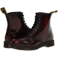 Dr. Martens 1460 (Cherry Red Arcadia) Lace-up Boots ($70) ❤ liked on Polyvore featuring shoes, boots, tan, dr martens boots, tan lace up boots, dr martens shoes, horse boots and leather lace up boots