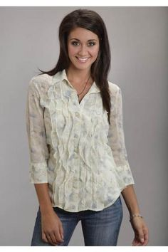 Soft Floral Print Chiffon Shirt Stetson Ladies Collection- Spring Iii Long Sleeve Urban Western Wear - $69.95
