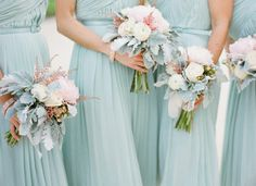 The mint green bridesmaid dresses and the peach & white bouquets are a great match. Blue Bridesmaids, Blue Bridesmaid Dresses, Wedding Bridesmaids, Wedding Bouquets, Wedding Gowns, Bridesmaid Color, Blue Dresses, White Bouquets, Bridesmaid Bouquets