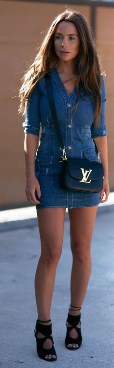Balmain Denim Dress Streetstyle by Johanna Olsson