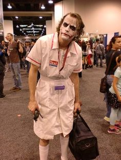 Absolutely terrifying Nurse Joker cosplay.