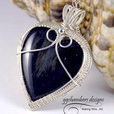 Velvet Obsidian Heart in Sterling Silver Woven Wire Pendant