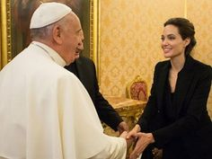 Angelina Jolie, outstanding Hollywood actress is busy in screening her latest directorial film Unbroken in Rome. She met Pope Francis privately in Vat