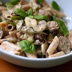 Sausage and mushroom penne in mustard cream sauce.