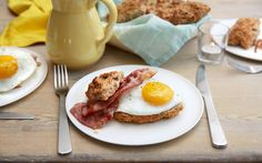 Frokostbriks til helgefrokosten Bacon, Eggs, Breakfast, Food, Morning Coffee, Eten, Egg, Meals, Morning Breakfast