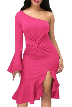 online shopping for Cfanny Women's One Shoulder Ruffle Knotted Front Slit Cocktail Maxi Dress from top store. See new offer for Cfanny Women's One Shoulder Ruffle Knotted Front Slit Cocktail Maxi Dress Cheap Club Dresses, Sexy Dresses, Casual Dresses, Midi Dresses, Party Dresses, One Shoulder Prom Dress, Prom Dresses Online, Dress Online, Casual Winter
