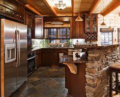 timberframe or loghome kitchen - Google Search