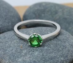 1ct genuine Emerald Solitaire ring available in white gold or sterling silver - engagement ring - wedding ring - silver ring by TheAladdinsCave on Etsy https://www.etsy.com/listing/243252774/1ct-genuine-emerald-solitaire-ring