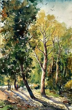 Watercolor Landscape Paintings, Watercolor Trees, Landscape Drawings, Watercolour Painting, Landscape Art, Watercolors, Bright Paintings, Beautiful Paintings, Composition Painting