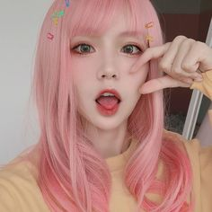 LOLITA GRADUAL PINK STRAIGHT WIG BY31002 Pink Hair Anime, Pastel Pink Hair, Pink Wig, Hair Color Pink, Pretty Hairstyles, Girl Hairstyles, Girl With Pink Hair, Pink Haired Girl, Hair Color Streaks