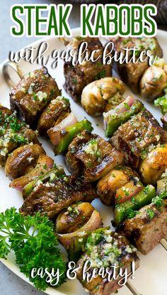 Grilled Skewers, Bbq Skewers, Steak Kabobs, Grilled Beef, Kebabs, Beef Kabob Recipes, Grilled Vegetable Recipes, Healthy Grilling Recipes, Grill Recipes