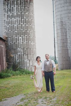A sophisticated farm fete in Vermont served as the backdrop of Annie & Noah's nuptials last year. The bride looked ravishing in her BHLDN gown. #BHLDNbride